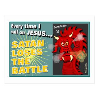 Satan Loses The Battle Christian Gift Postcard