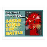 Satan pierde el regalo del cristiano de la batalla tarjetas postales