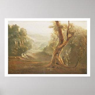 Satan que comtempla Adán y a Eva en paraíso, de Posters