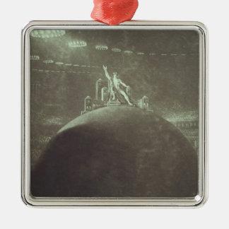 Satan que preside en el consejo infernal, 1824 adorno navideño cuadrado de metal