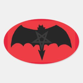 Satan Shadow Pentagram Oval Sticker