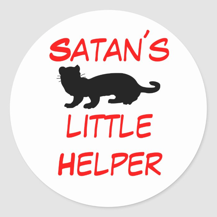 Satan´slittleHelper also ferret-outlined Classic Round Sticker