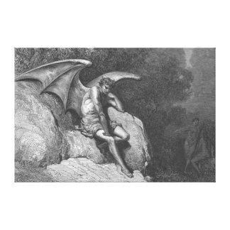 Satan Thinking Stretched Canvas Art