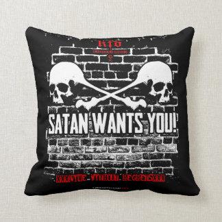 satan wants you! throw pillow