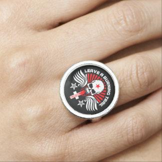 Satanic Biker Skull and Slogan Ring
