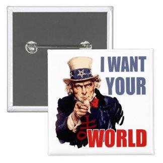 Satanic Capitalist Uncle Sam Pinback Button