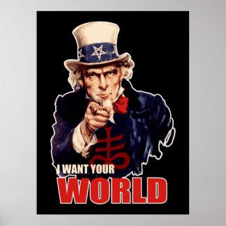 Satanic Capitalist Uncle Sam Poster