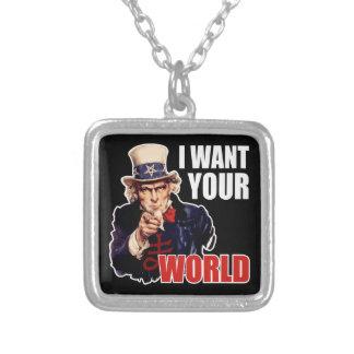 Satanic Capitalist Uncle Sam Square Pendant Necklace