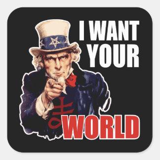 Satanic Capitalist Uncle Sam Square Sticker