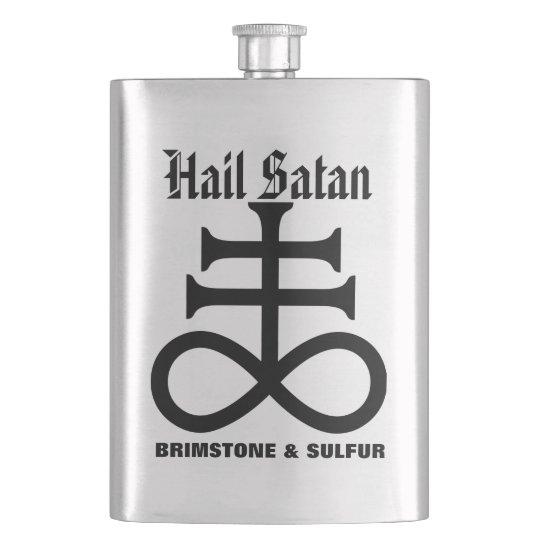 Satanic Cross Hail Satan Brimstone N Sulfur Flask Zazzle