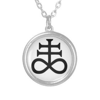 satanic cross round pendant necklace
