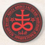 Satanic Cross with Hail Satan Inscription Drink Coaster