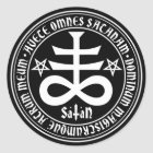 Satanic Cross with Hail Satan Text and Pentagrams Classic Round Sticker
