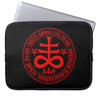 Satanic Cross with Hail Satan Text and Pentagrams Laptop Sleeve