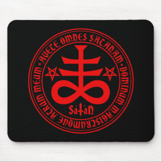 Satanic Cross with Hail Satan Text and Pentagrams Mouse Pad