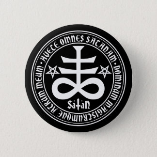 Satanic Cross with Hail Satan Text and Pentagrams Pinback Button