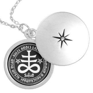 Satanic Cross with Hail Satan Text and Pentagrams Round Locket Necklace