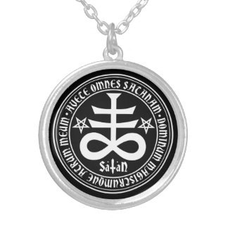 Satanic Cross with Hail Satan Text and Pentagrams Round Pendant Necklace