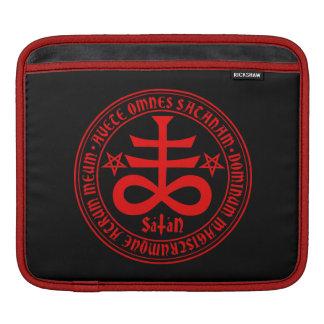 Satanic Cross with Hail Satan Text and Pentagrams Sleeve For iPads