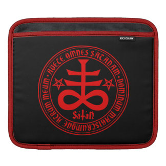 Satanic Cross with Hail Satan Text and Pentagrams Sleeves For iPads