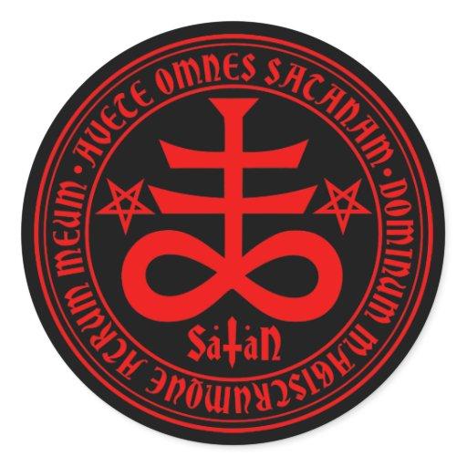 Satanic Cross with Hail Satan Text and Pentagrams Classic ...