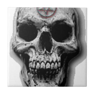 Satanic Evil Skull Design Ceramic Tile