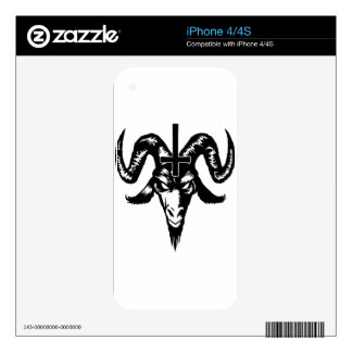 Satanic Goat Head with Cross (black) Decal For The iPhone 4S