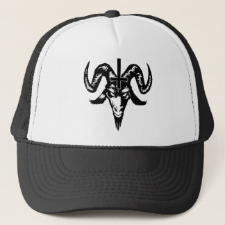 Satanic Goat Head with Cross (black) Trucker Hat