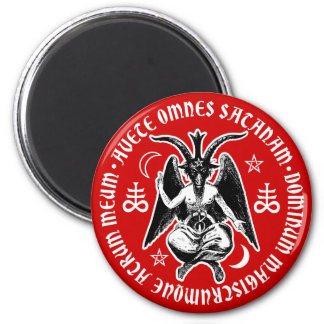 Satanic Goat Headed Baphomet 2 Inch Round Magnet