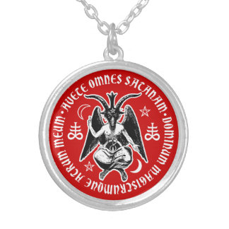 Satanic Goat Headed Baphomet Silver Plated Necklace