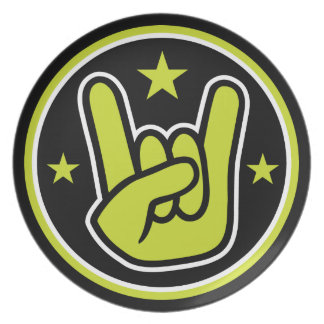 Satanic Horns Sign Devil's Hand Metal Gesture Plate