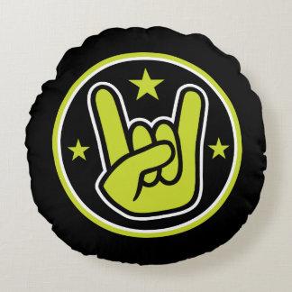 Satanic Horns Sign Devil's Hand Metal Gesture Round Pillow