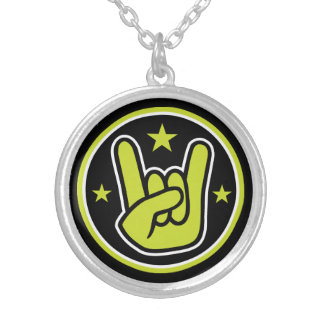 Satanic Horns Sign Devil's Hand Metal Gesture Silver Plated Necklace