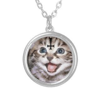 satanic kitty round pendant necklace