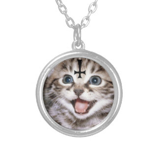 satanic kitty silver plated necklace