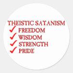 Satanism/dedicación teístas de Luciferianism Pegatina Redonda