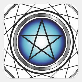 Satanism religioso del símbolo del pentáculo pegatina cuadrada