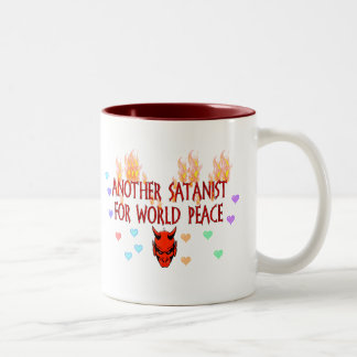 Satanist de la paz de mundo taza de café de dos colores