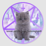 satanist kitty for hoisington6 round sticker