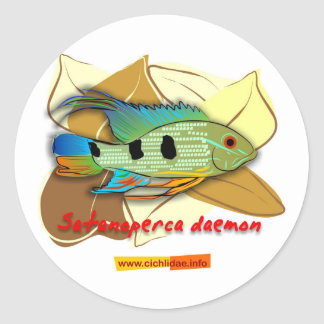 Satanoperca daemon round sticker