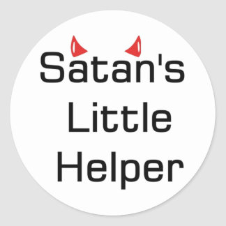 Satan's Little Helper Classic Round Sticker