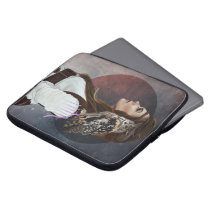 """Satchel for laptop """"Owl Lady"""". Computer Sleeve"""