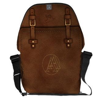 "satchel Pony Express leather Monogram ""A&A"" Courier Bag"