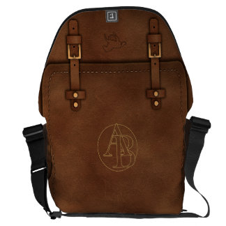 "satchel Pony Express leather Monogram ""A&B"" Courier Bag"