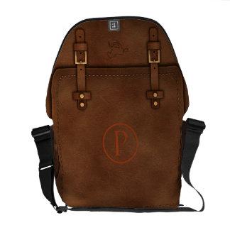 "satchel Pony Express leather Monogram ""P"" Messenger Bag"