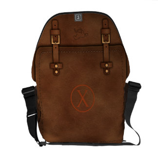 "satchel Pony Express leather Monogram ""X"" Messenger Bag"