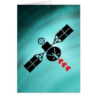 Satélite del amor tarjeta de felicitación