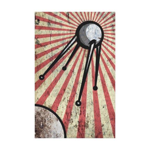 Satélite retro impresiones en lienzo estiradas