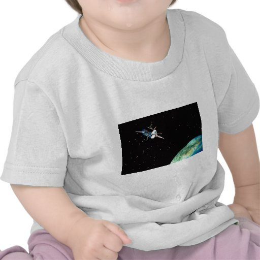 Satellite above Earth T-shirts