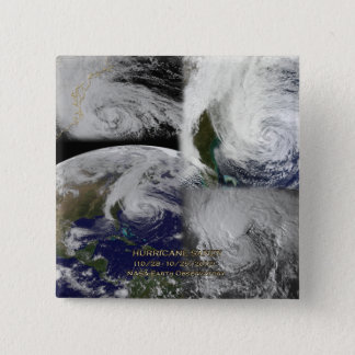 Satellite Collage View of Hurricane Sandy Pinback Button